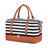 SUVOM Women Weekend Bag Canvas Overnight Travel Tote Bag Carry on Shoulder Duffel Bag with PU Leather Strap