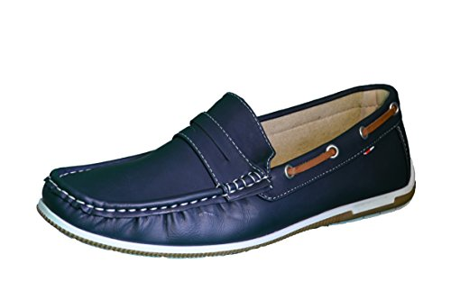 Elifano Footwear Herren Mokassin Bootsschuhe Wildleder Müßiggänger Schuhe Flache Hausschuhe (41 EU, Blue)