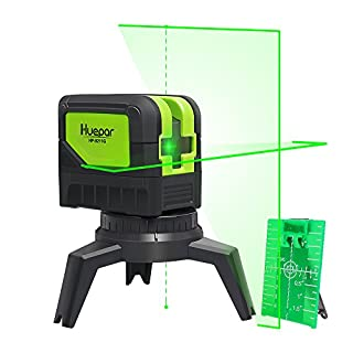 Cross Line Laser Level with Plumb Bob - Huepar 9211G Green Beam Self Leveling 180-Degree Vertical Line and Horizontal Line with Plumb Points, Multi-Use Self-Leveling Alignment Laser Level