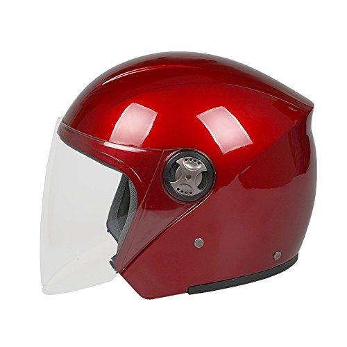ZCXCC Motorrad Helm Männlich Elektrofahrzeug Halbhelm Weiblich Vier Jahreszeiten Anti-Beschlag Halb Bedeckt Warm Bauarbeiterhelm,Red