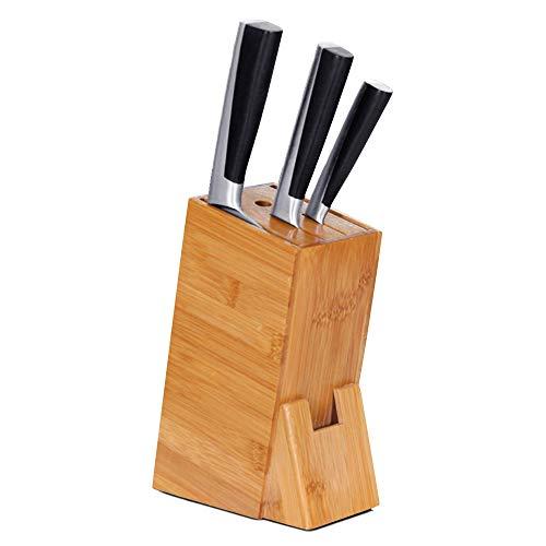 Decdeal Ceppo di Coltelli bambù, Supporto per Coltelli da Cucina,Ceppo Coltelli Universale Blocco per Coltelli in Legno,15.5 x 8.5 x 22.5 cm