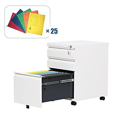 DEVAISE Mobile 3 Drawer Filing Cabinet with A4 Suspension Files