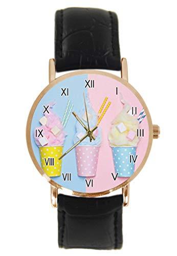 Lustige Erdbeer-Uhr mit Donutglasur und lustiger Lebensmittel-Armbanduhr Fashion Klassisch Unisex Analog Quarz Edelstahl Gehäuse Lederarmband Uhren - Uhr Lebensmittel