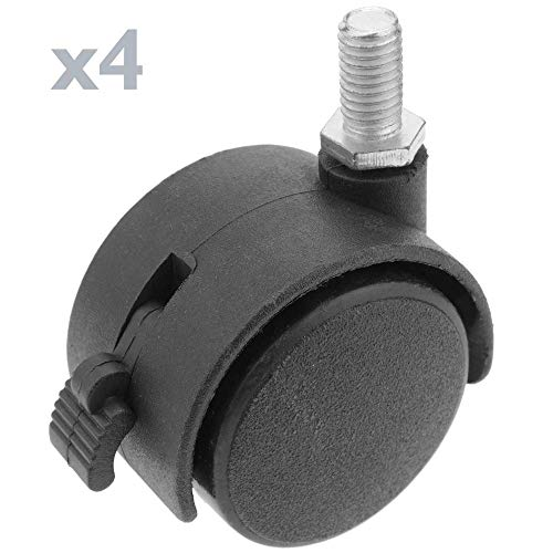 PrimeMatik - Lenkrollen Schwenkrollen Industriell Rad aus Nylon mit Bremse 40 mm M6 4 Pack