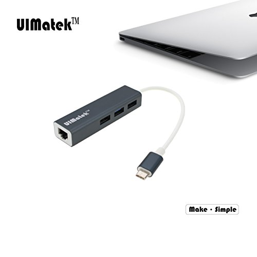 Foto de UIMatek Hub Type C con RJ45 Ethernet Adaptador, USB C a 3 port USB 3.0 ,Compatible con Mac OS X ,Window 10/8.1/8 /7 / Vista / XP, Chrome OS, Linux