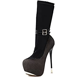 Damen Neue Mode Sexy Stiletto Super High Heel Single Schuhe Stiefel Runde Kopf Net Socks Überschuhe Plattform Pumps Herbst Frühling Nightclub Party Dressy , Black , EUR 40 /UK 5.5