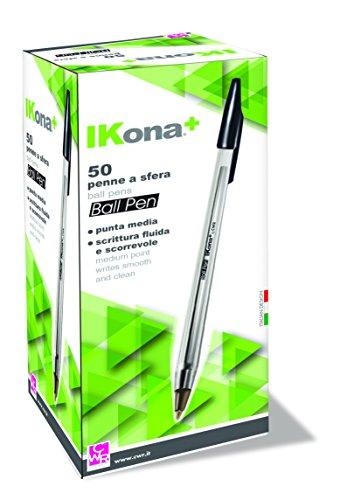 IKona+ 04491 Penne a Sfera 50 Pezzi, Nero