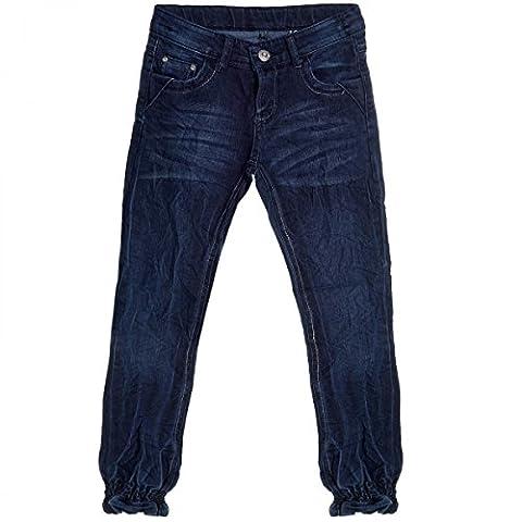 Kinder Mädchen Jeans Hose Röhre Straight Fit Skinny Sommer Stretch Bootcut 20490, Farbe:Blau;Größe:176