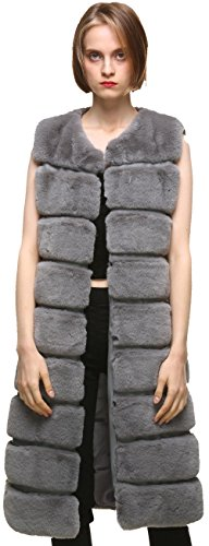 Vogueearth Damen' Classic Faux Pelz Pelzimitat Kunstfell Rex Kaninchen Herbst Winter Warm Lange Weste Mantel Jacke Dunkel Grau (Damen Kaninchen Mantel Pelz Jacke)