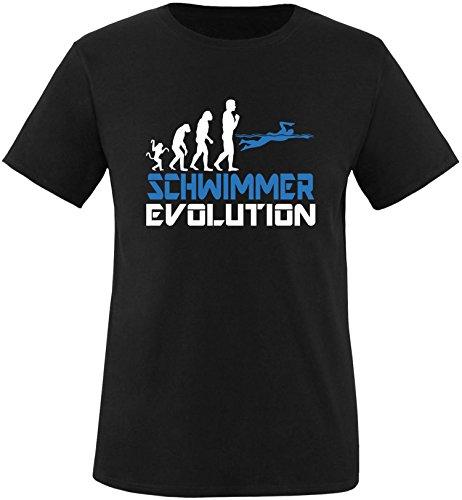 EZYshirt® Schwimmer Evolution Herren Rundhals T-Shirt Schwarz/Weiss/Blau