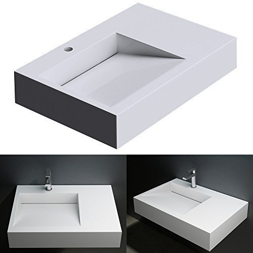 BTH: 75x50x13 cm Design Aufsatzwaschbecken Hängewaschbecken Colossum11, in weiß, aus Gussmarmor
