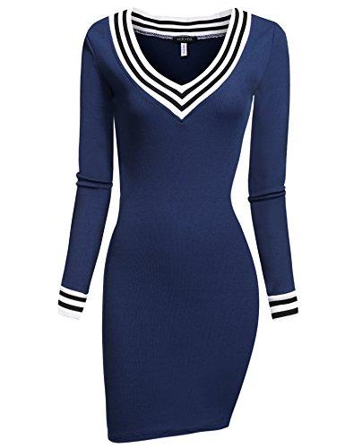 ACEVOG Damen Figurbetontes Strickkleid Langarm Stricken Pullover mit V Ausschnitt Kurzärmliges Stricken Freizeitkleid Casual Elegant Kleid eng