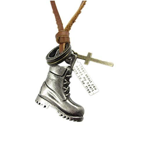 Aszhdfihas Halskette Kuhfell Legierung Halskette literarischen Pullover Kette Stiefel Leder Anhänger für Frauen und Mädchen (Farbe : Silber) -