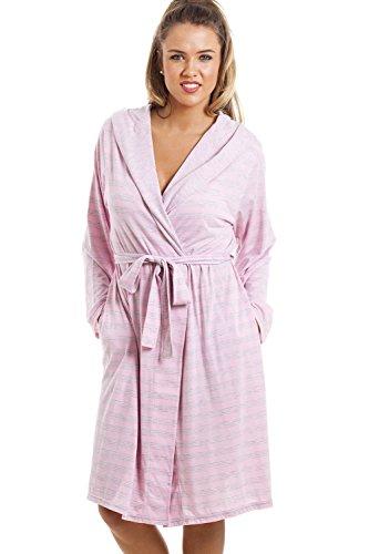 Robe de chambre - longueur genou/manches longues/à capuche - à rayures - gris et rose Rose
