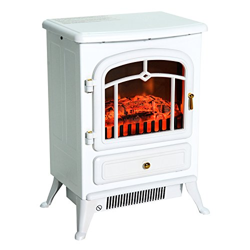 HOMCOM Elektrokamin Kaminofen Flammeneffekt Nie Überhitzung Metall Glas Weiß 42 x 28 x 55 cm