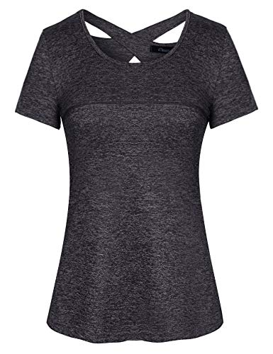 Sykooria Damen Tshirt Kurzarm Sport Atmungsaktiv Kreuz Zurück Fitness Sport T-Shirt Damen Joggen Sportshirt Grau