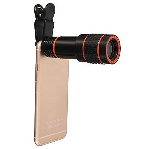 Objectif Zoom Lentille,Hizek 12X Téléobjectif Caméra Lens Pince Universal Télescope Optique pour iPhone 6 / 6 plus / 6s / 6s Plus, iPad, Samsung galaxy s7 / s7 edge/ note, Wiko, Nokia, Sony, d'autre Mobile et Tablette (12X)