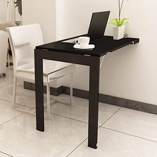 Table Murale/Table de Cuisine Convertible en Forme de Goutte pour Bureau avec Table Pliante 90 * 60 cm (Couleur : Noir, Taille : 74x 45cm)