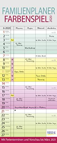 Familienplaner Farbenspiel 2020: Familienkalender für 4 Personen, bunt mit Ferienterminen, Vorschau bis März 2021 und nützlichen Zusatzinformationen.