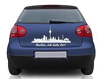 Autoaufkleber Fahrende Skyline Berlin B x H: 40cm x 18cm Farbe: schwarz von Klebefieber®