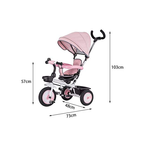 LRHD Children's Tricycle 4-in-1 Baby Tricycle, Safety Belt, Adjustable Push Handle, Detachable Ceiling, Retractable Pedal, Lockable Pedal, Detachable Guardrail, Birthday Present for Children LRHD 1. 4-in-1 tricycle: easy to switch between the four modes and easy to disassemble and install all components. This tricycle can grow up with a child aged 10 months to 5 years old, which is a rewarding investment for your child's childhood. Our four-in-one tricycle will be one of your children's fond memories of childhood. 2. Convenient for parents: when children cannot ride independently, parents can easily use the push handle to control the steering and speed of the tricycle. The height of the push handle can be adjusted to meet the different needs of parents. The push handle is also detachable, allowing children to enjoy free rides. 3. Ensure safety: Considering the safety of children when using, we have made many detailed safety designs. There is a detachable sponge guardrail on the seat, which can also be opened to let children get on the bus. The additional vertical safety belt can not only prevent the child from falling down, but also cover the button to avoid injury to the child. 2