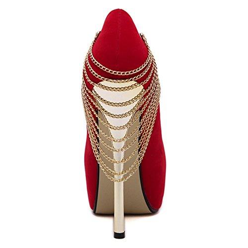 GS~LY Grande taille femme chaussures talons hauts talons métallisation plate-forme peu profonde Black