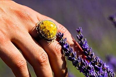 Bague en verre - Fleurs naturelles séchées d'Immortelles - 20mm - Cadeau Femme - Cadeau de Noel