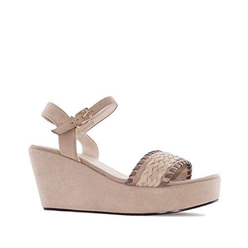 Andres Machado. AM5132.Chaussures Compensées en suèdine. Petites et Grandes Pointures 32/35-42/45. Beige