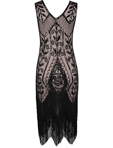 PrettyGuide Donne 1920s Inspired Paillette Frange Abito da cocktail Flapper Vestito Nero Beige