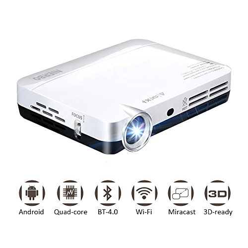 Mini Projecteur 3D HD Projecteurs DLP Home Video Beamer avec Android Dual WIFI Bluetooth Miracast Airplay HDMI Connect Télévision