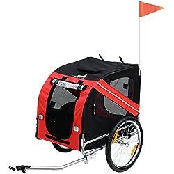 Pawhut Remorque vélo pour Chien Animaux Pliable 8 réflecteurs Drapeau Barre attelage Inclus Acier Polyester imperméable Max. 40 Kg 130L x 73l x 90H cm Rouge