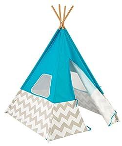 KidKraft 223 Tienda cabaña india Teepee Deluxe para niños para interior y exterior al aire libre con 162 cm de altura - Turquesa
