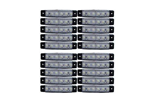 Preisvergleich Produktbild 20 Stück x6 LED weiß Leuchte Lampe LKW Begrenzungsleuchte Umrißleuchte Seite 24V