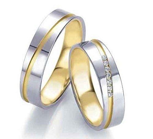Anillos de compromiso, de titanio con diamante y circonita, grabado