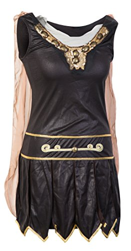 Modisches Kriegerinnenkostüm - Beinhaltet Gladiatorenkleid mit angenähtem Umhang, Armstulpen und Stirnband - Gladiatorkostüm oder römisches Kriegerkostüm für Halloween - EU Größen 34-40