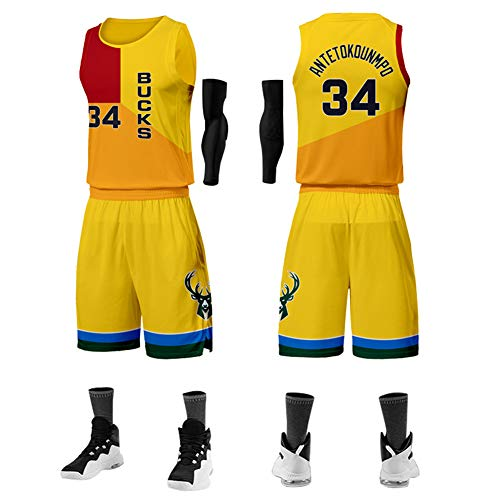 WWJJE (# 34 Antetokounmpo) Bucks Basketballuniformen, Trainingsanzüge für Herren Basketballwesten Oberteile/Kurze Anzüge, atmungsaktive und feuchtigkeitsspendende, schnell trocknende Stoffe.-L