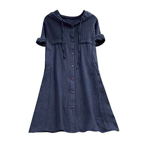 YEBIRAL Damen Bluse V-Ausschnit Langarm Shirt Leinen Einfarbig Lässige Lose Tunika Tops T-Shirt Hemdbluse Große Größen (EU-50/CN-5XL, 01-Marine) -