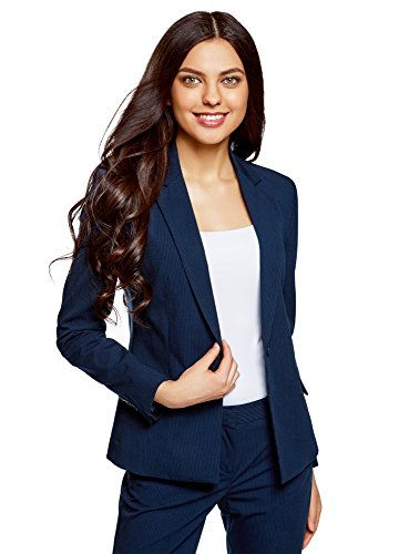 oodji Collection Damen Klassischer Taillierter Blazer, Blau, DE 42 / EU 44 / XL