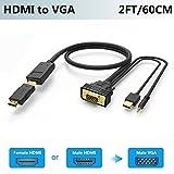 FOINNEX Adattatore HDMI a VGA con Audio 60CM, Attivo Cavo HDMI Femmina/Maschio to VGA Maschio Convertitore per TV Stick,Roku,Chromecast,Xbox,PS3,PS4,PC,Laptop a Vecchio Stile TV,Monitor,Proiettore