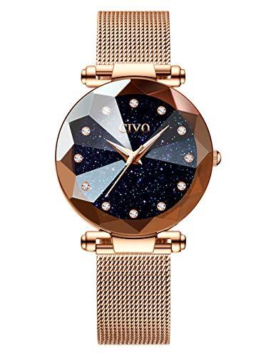 CIVO Damen Uhren Wasserdicht Silm Minimalistisch Rose Gold Damenuhr mit Edelstahl Mesh Armband Mode Kleid Elegant Beiläufig Quarzuhr für Frau Lady Teenager Mädchen (Blau)