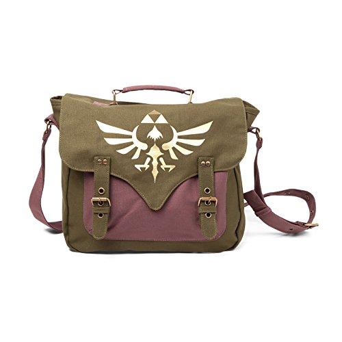 Zelda Tasche Canvas Messenger Bag Logo Front Umhängetasche Nintendo Kuriertasche Flight Bag with golden triforce logo (Canvas-baumwolle T-shirt)