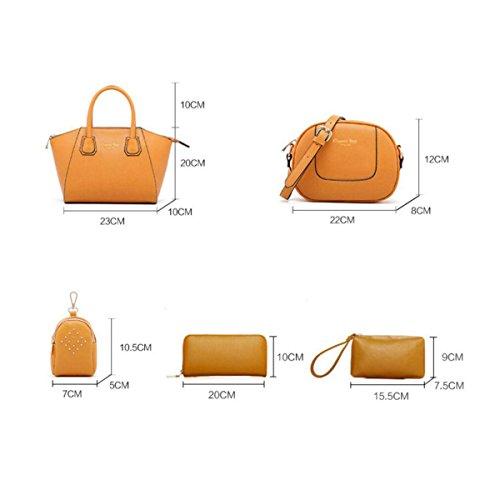 Damen Koffer Mode Handtasche Umhängetasche Diagonalpaket Umhängetasche Exquisite 6 Sets Yellow
