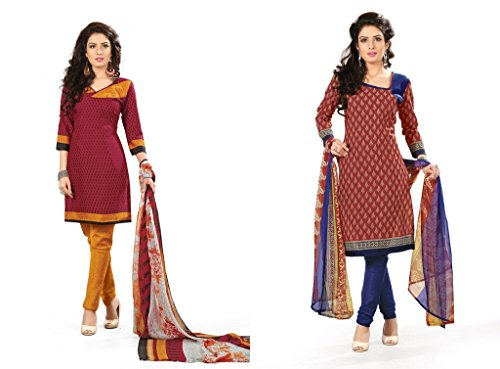 BanoRani Womens Combo Maroon & Red Color PolyCotton Unstitched Dress Material