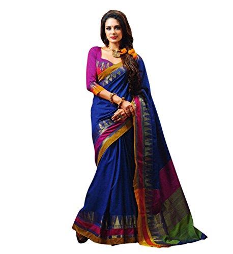 Miraan Women's Cotton Saree With Blouse Piece (Netra_Blue)