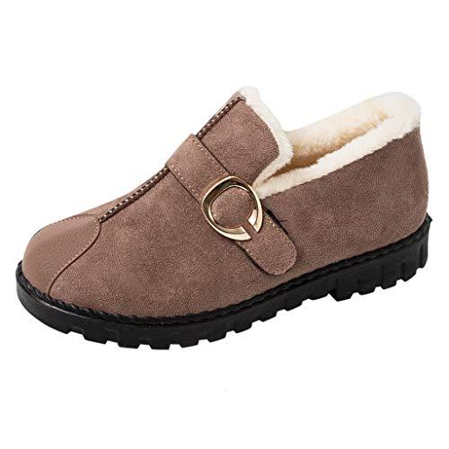 CUTUDE Schuhe Damen Warme Stiefel Klassiker ZurüCk Krawatte Schnalle Frauen Schneestiefel Winterschuhe Mode Flache Fersen (Braun, 38 EU) -