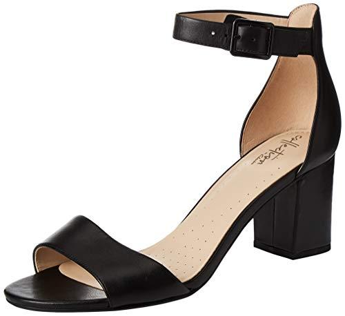 Clarks Deva Mae, Zapatos con Tacon y Correa de Tobillo para Mujer, Negro Black Leather-, 40 EU