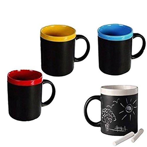 Lote de 4 Tazas de Pizarra (Incluye Tiza) Blanco, Verde, Rojo y Azul.