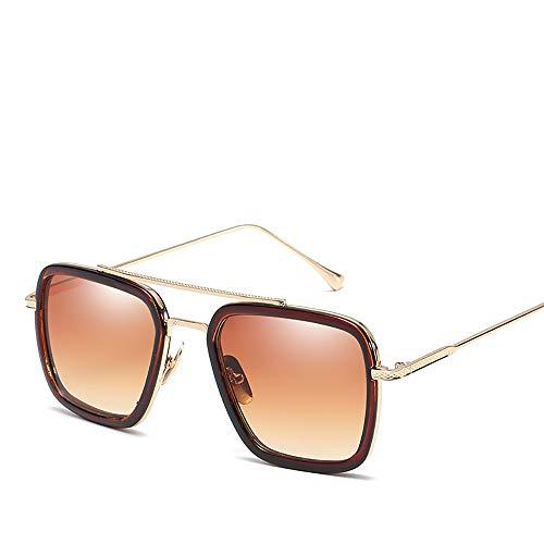 ZUZEN Sonnenbrille Square Iron Man mit Brille Retro Sonnenbrille für Männer und Frauen Fashion Sonnenbrille UV-Schutz Goggles Augenschutz,Brown