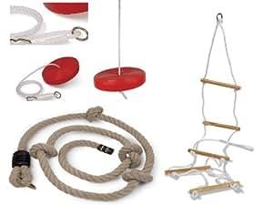 Lot complet 1 balançoire ronde + 1 échelle de corde à 5 barreaux en bois + 1 corde à noeuds pour tout portique standart