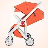 LZTET Kinderwagen Buggy 2in1 Reisesystem mit Babywanne und Kindersitzeinheit Tragbare Faltung,Orange